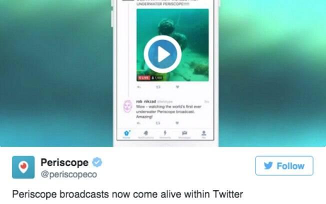 Transmissões e repetições feitas no Periscope vão aparecer na linha do tempo do Twitter