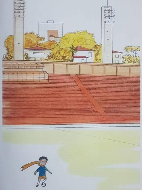 Pequeno Príncipe visitando estádio do Pacaembu