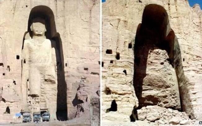 As estátuas, antes e depois; patrimônio histórico foi destruído em 2001 pelo Talebã