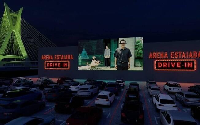 Projeto arquitetônico do cinema Arena Estaiada Drive-In, na marginal Pinheiros, em São Paulo
