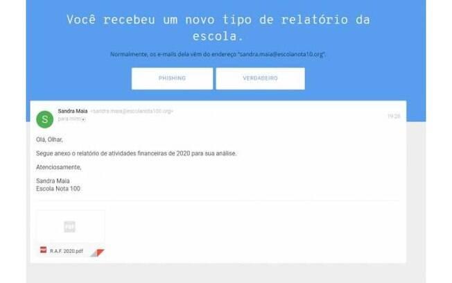 O teste pede que o usuário analise alguns e-mails
