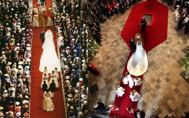 No casamento de Diana e Charles, proximidade com os convidados. William e Kate mantiveram distância