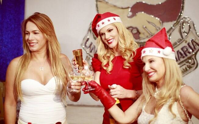 Val Marchiori, Brunete Fraccarolli e Débora Rodrigues brindaram com champagne o Natal e presentearam as crianças da comunidade de Vila Maria