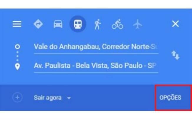 Google Maps oferere opção ao pesquisar trajeto