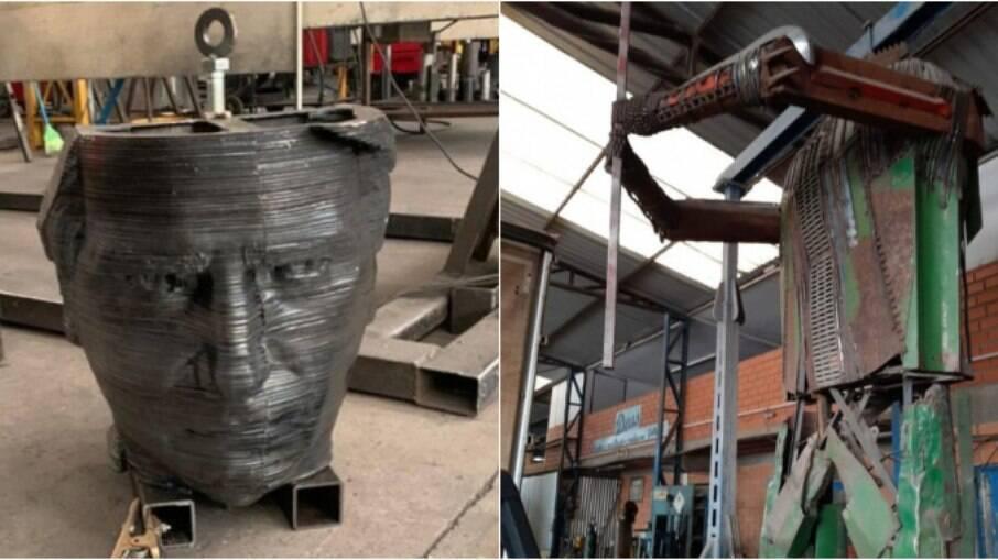 Estátua de Bolsonaro é construída no RS