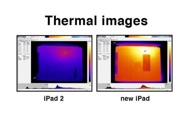 Imagens mostram temperatura no iPad 2 (esquerda) e novo iPad (direita), que esquenta mais