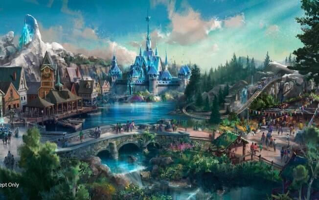 A atração de Frozen terá o castelo de gelo da Elsa e um enorme lago, assim como na fictícia Arendelle