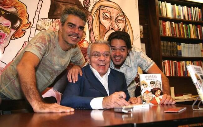 Chico Anysio com os filhos Nizo Neto e Bruno Mazzeo
