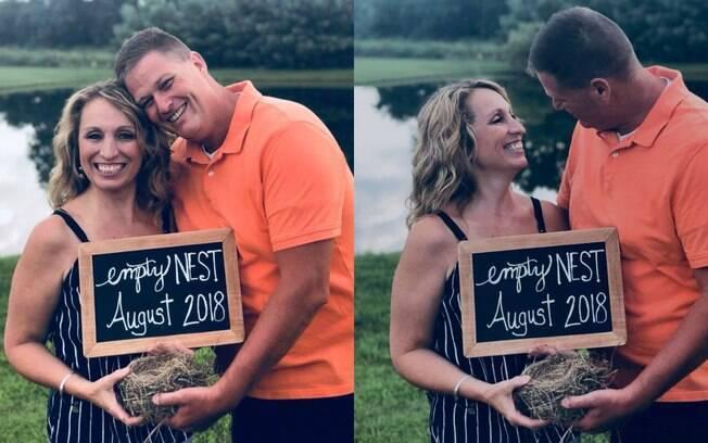 Vicky e o marido Jaff fizeram um ensaio fotográfico para anunciar que o filho foi para a faculdade e o