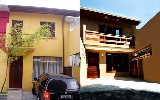 O antes e depois da fachada da casa