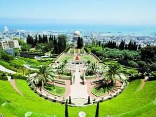 Os famosos jardins Bahá'í, na cidade de Haifa, em Israel