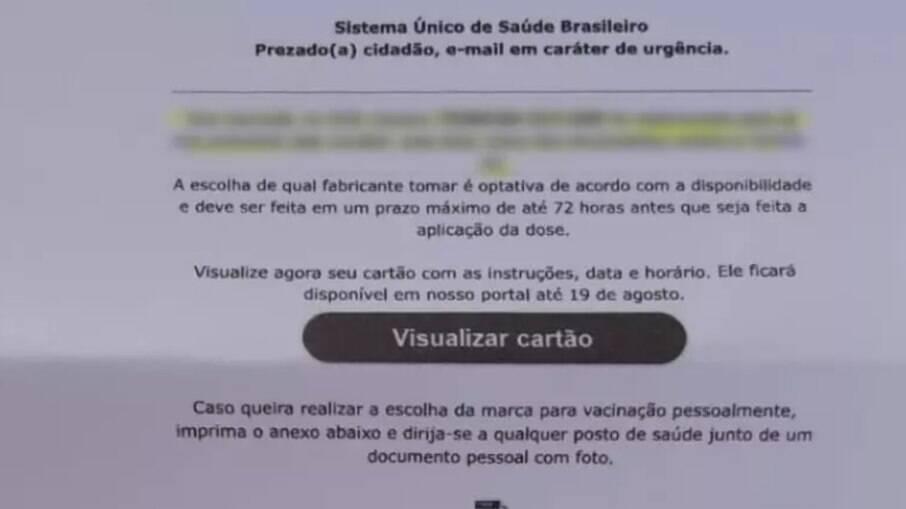 E-mail falso sobre vacinação.