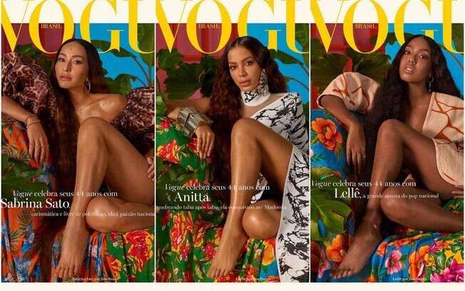Sabrina Sato, Anitta e Lellê são capas da Vogue Brasil na edição de maio