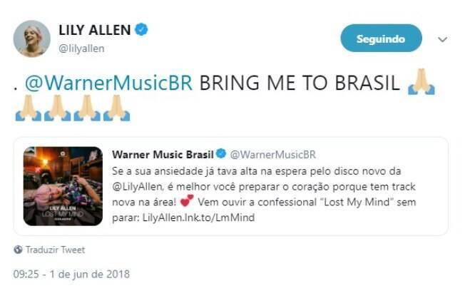 Em 2018, Lily Allen usou o Twitter para demonstrar saudade do Brasil