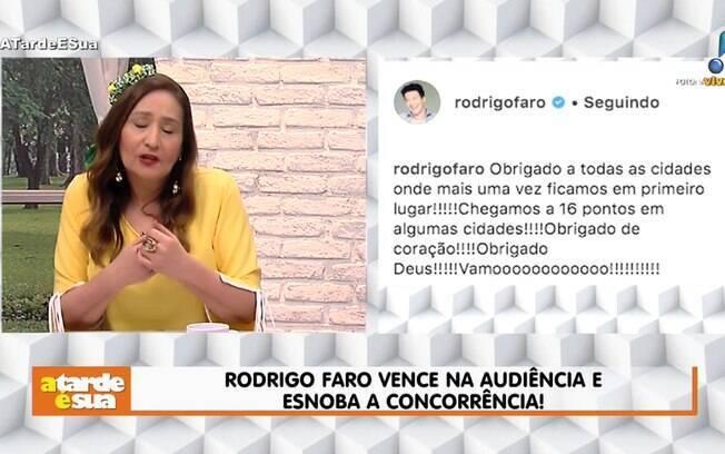 Sonia Abrão critica atitude de Rodrigo Faro