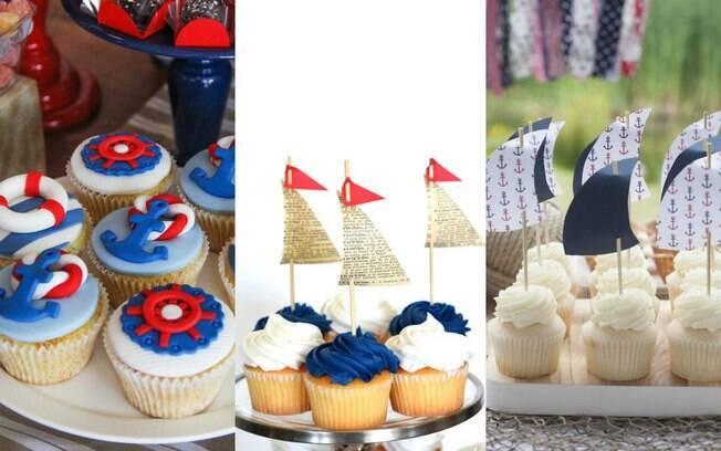 Docinhos servidos na festa com o tema náutico podem ser decorados com as cores azul, branco e vermelho