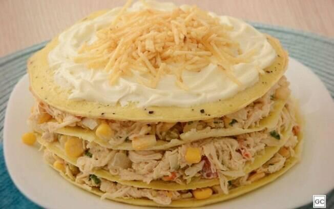 Omelete em camadas com frango