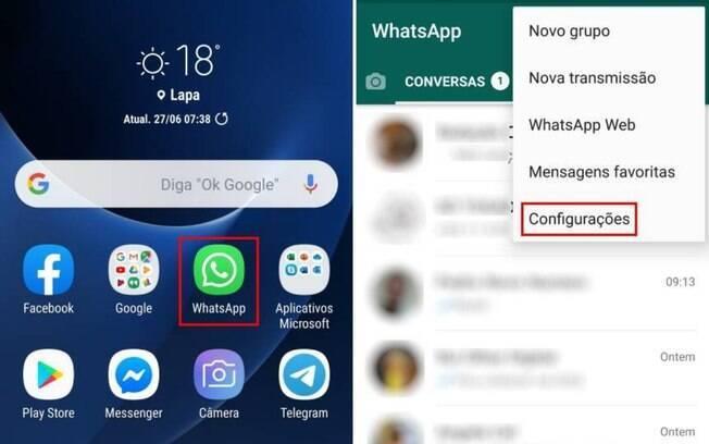 Para colocar o Dollify como foto do seu Whatsapp, selecione o app e clique em 'configurações'