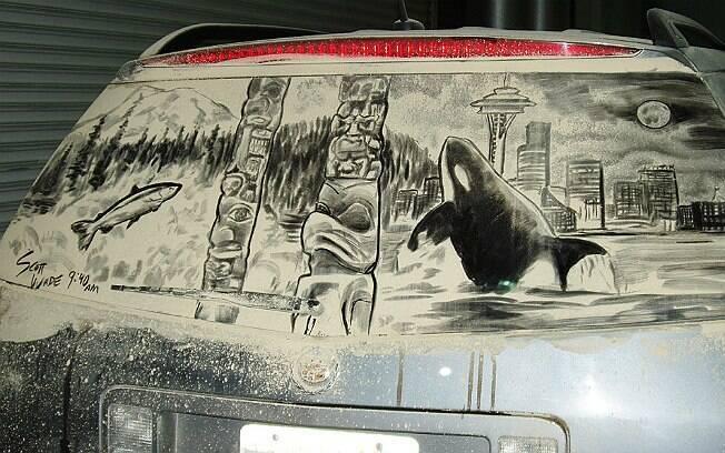 Desenho de Scott Wade com cartões-postais de Seattle, nos Estados Unidos