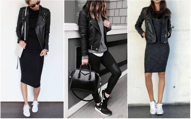 Combinar jaquetas de couro com tênis é, além de tendência, uma forma interessante de alcançar um estilo roqueiro