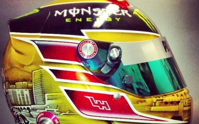 Hamilton mostrou fotos do capacete para  corrida de domingo em sua página no Instagram
