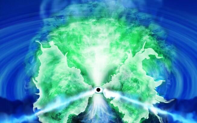 Visão esquemática do chafariz de gás produzido por um buraco negro supermassivo.