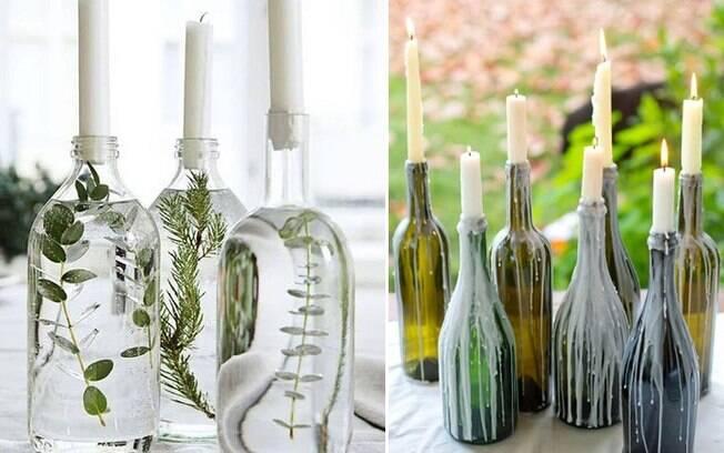Garrafas transparentes ou até de vinho podem ser ótimos enfeites na hora de deixar o ambiente mais sombrio