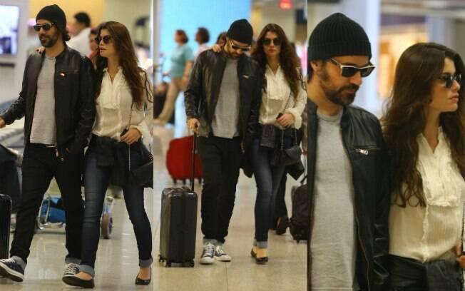 Alinne Moraes e o namorado,  Mauro Lima, foram fotografados elegantes no aeroporto Santos Dumont