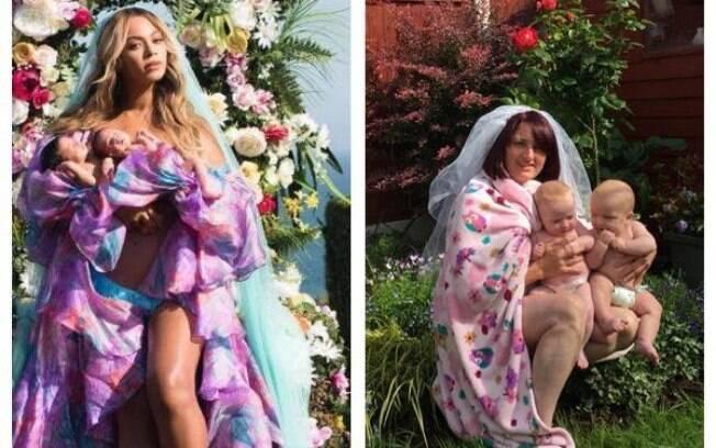 Mãe irlandesa recria ensaio de Beyonce com os gêmeos no jardim de casa e imagem viraliza nas redes sociais