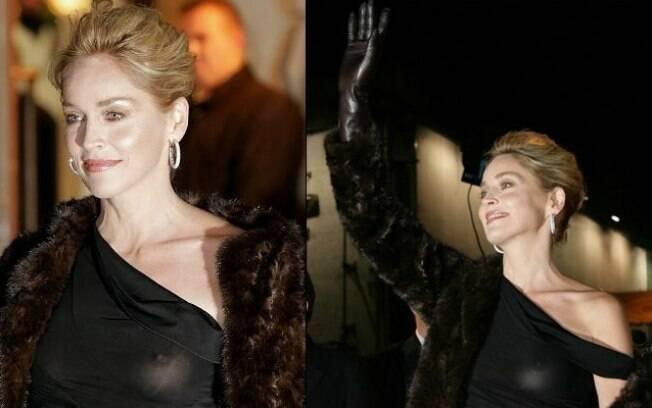 Sharon Stone estava deslumbrante para o tapete vermelho, mas esqueceu de colocar o sutiã e apareceu o vilão: vestido preto