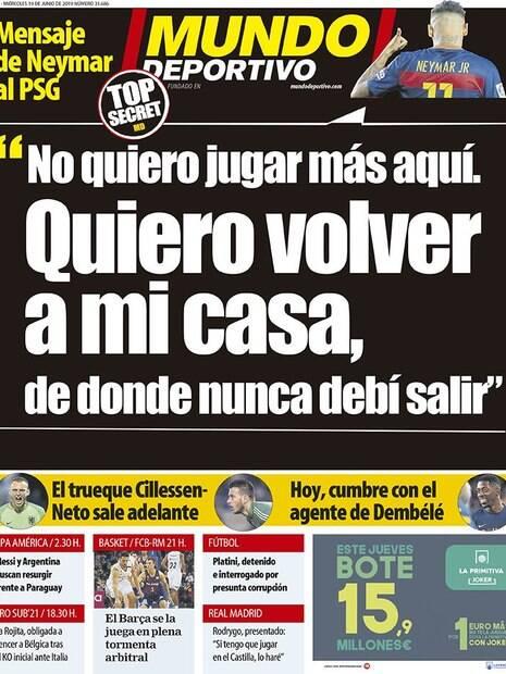 Capa do Mundo Deportivo sobre a volta de Neymar ao Barcelona