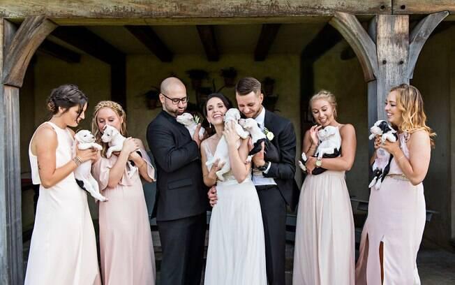 Os noivos, Becky e John, as madrinhas, os padrinhos e os cinco filhotes de cachorro integraram o ensaio de casamento