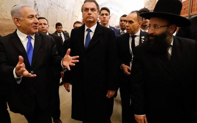Presidente da República, Jair Bolsonaro, e o primeiro-ministro de Israel, Benjamin Netanyahu, em visita a Israel