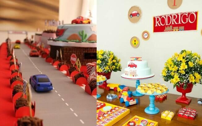 Mesa do bolo pode contar com uma pista de corrida para carros, e também dá para usar flores na decoração da festa