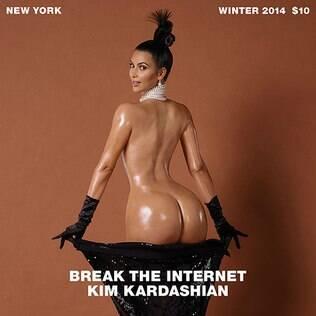 Com seu famoso bumbum de fora, a socialite norte-americana Kim Kardashian causou furor nesta semana ao posar nua para a revista