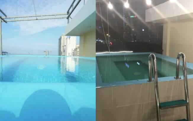 A foto da piscina que o hotel postou no site do Booking.com comparada com a foto real