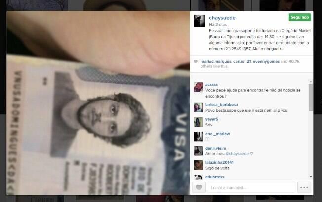 Chay Suede publica pedido de ajuda para encontrar seu passaporte