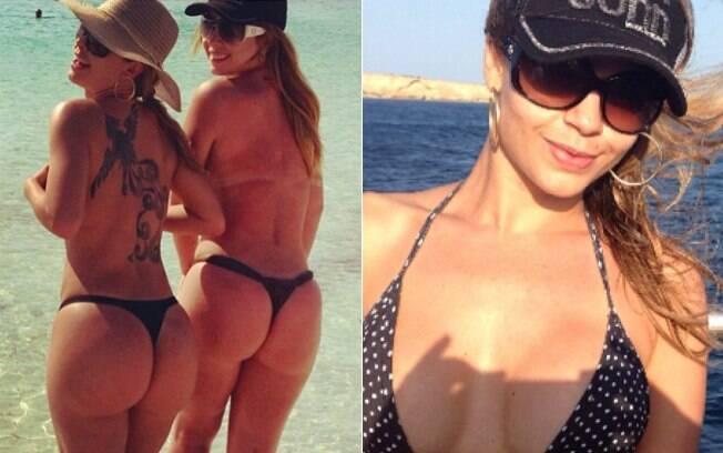 Cacau e amiga curtem o mar de Ibiza de topless