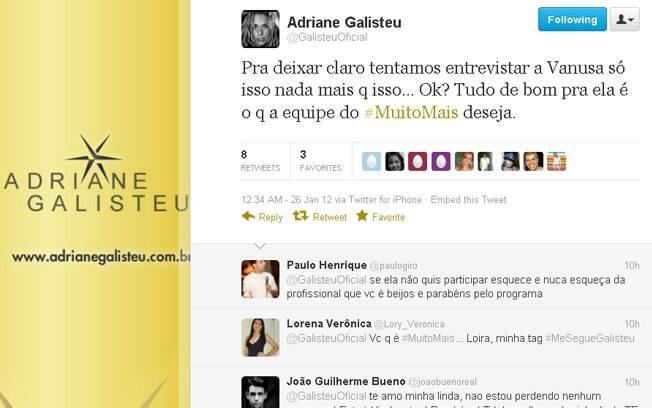 Adriane Galisteu disse em seu Twitter que só queria uma entrevista com Vanusa