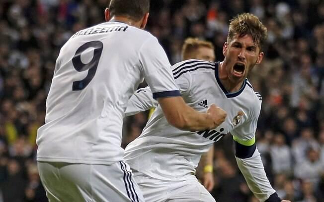 Sergio Ramos vibra demais após a marcação do  segundo gol do Real Madrid, que mesmo com a  vitória acabou eliminado pelo Borussia Dortmund