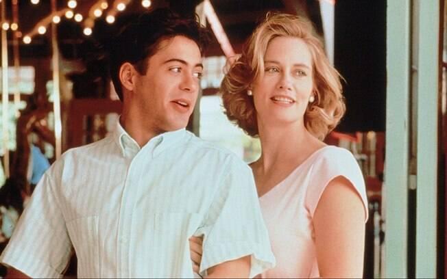 Com Cybill Shepherd em 'O Céu se Enganou' (1989). Foto: Divulgação