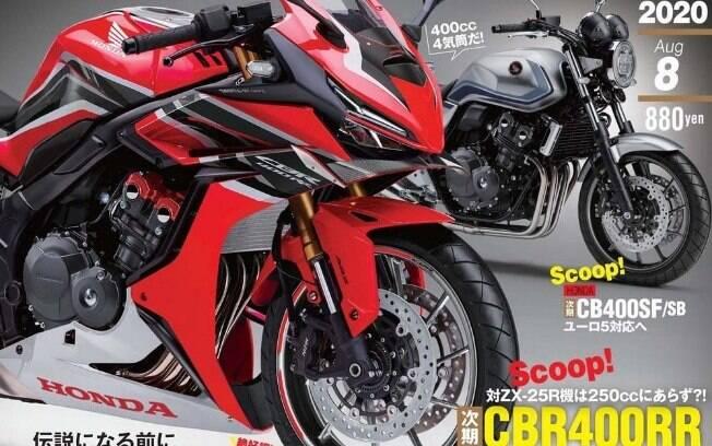 Honda CBR 400RR no vazamento de imagem no Japão. Trata-se da primeira revelação da moto, ainda não oficial