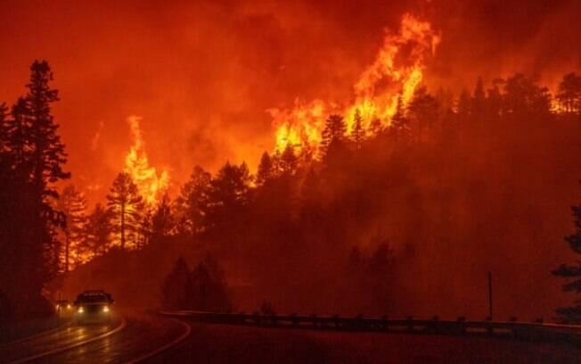 Bombeiros trabalham para impedir que o fogo chegue à Angeles Crest Highway ao norte de Azusa, Califórnia