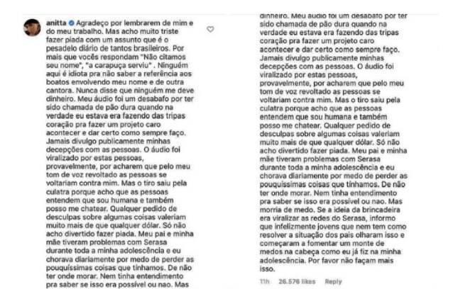 Anitta responde publicação da Serasa
