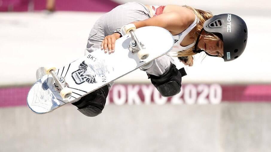 Sky Brown conquistou a medalha de bronze no skate park Olímpico