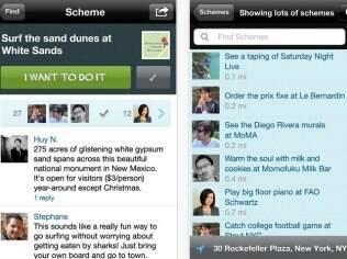 Aplicativo para iPhone do Schemer permite buscar atividades de lazer e listar as programadas para os próximos dias