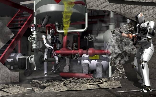 Ilustração mostra possibilidades para atuação de robôs em áreas de risco