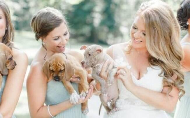 Madrinhas e noiva seguram filhotes