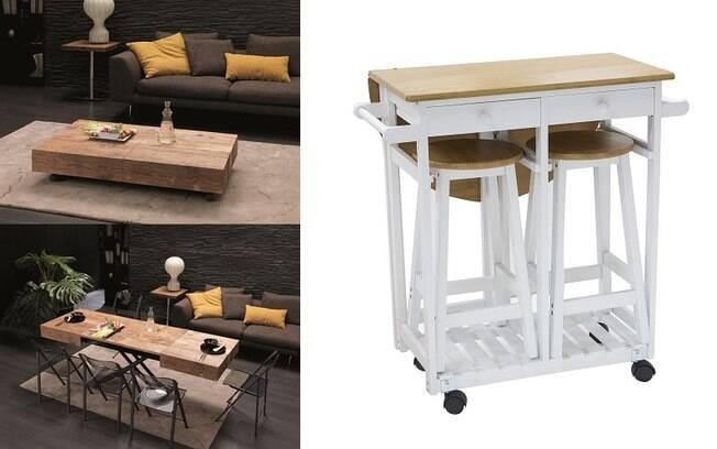 Mesas de centro que se expandem ou conjuntos que transformam vários móveis em algo compacto também são opções