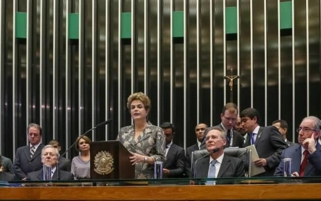 A presidente da República, Dilma, ao lado de Lewandowski, Renan Calheiros e Eduardo Cunha